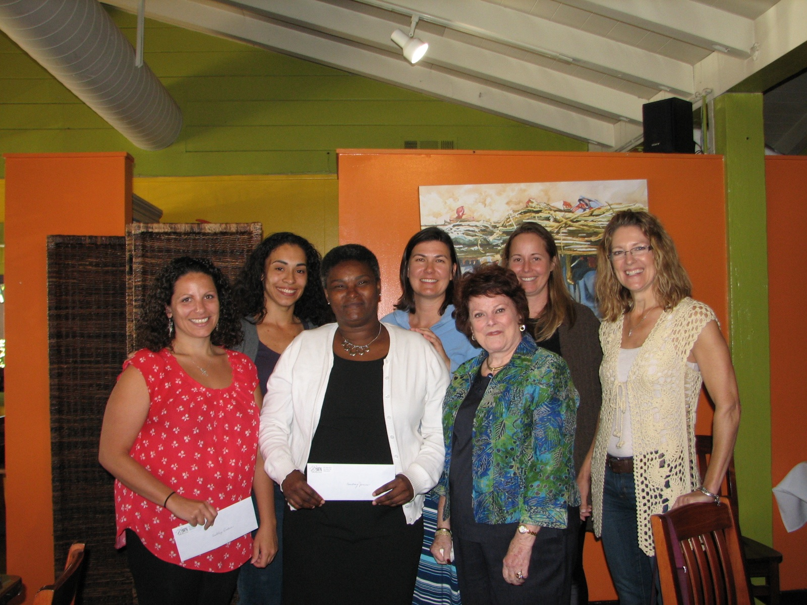 Scholarship winners (l. to r.) Ashley Erden, Sabrina Bussell, Courtnay Jones with Scholarship committee Christine Womack, Alyce Thorp, AJ Fudge and Monica Randeen. (not pictured Scholarship winner Jimi McFarlin)